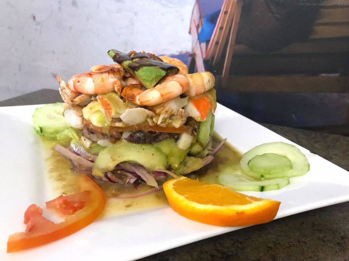 Mexican-style cold seafood tower