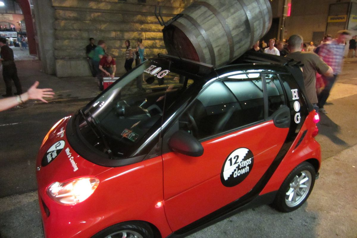How to fit a 50-gallon keg in a Smart car.