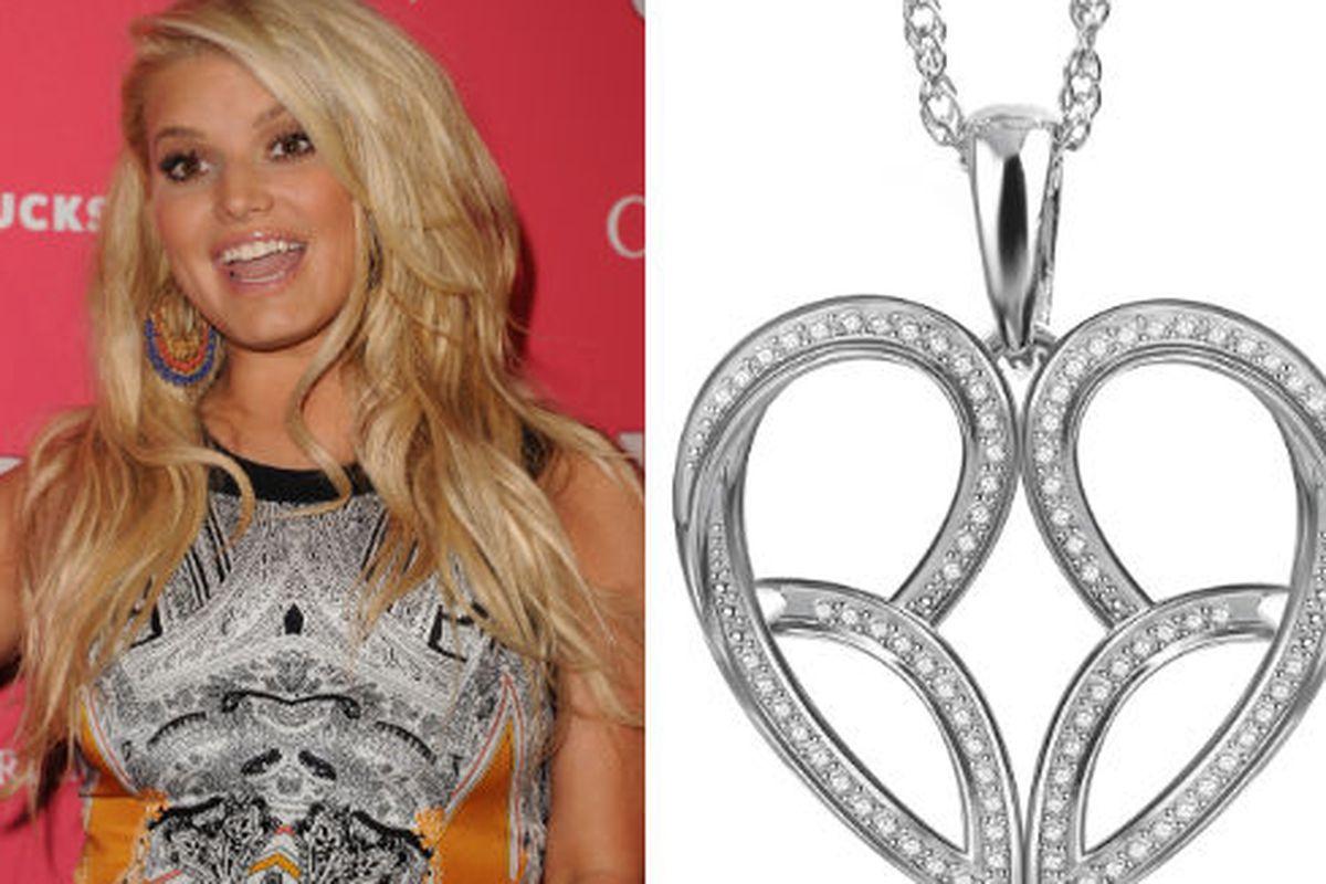 "Jessica Simpson image via Getty Images, diamond pendant via <a href=""http://www.wwd.com/accessories-news/jewelry/jessica-simpson-adds-diamonds-to-the-mix-5095360?module=today"">WWD</a>"