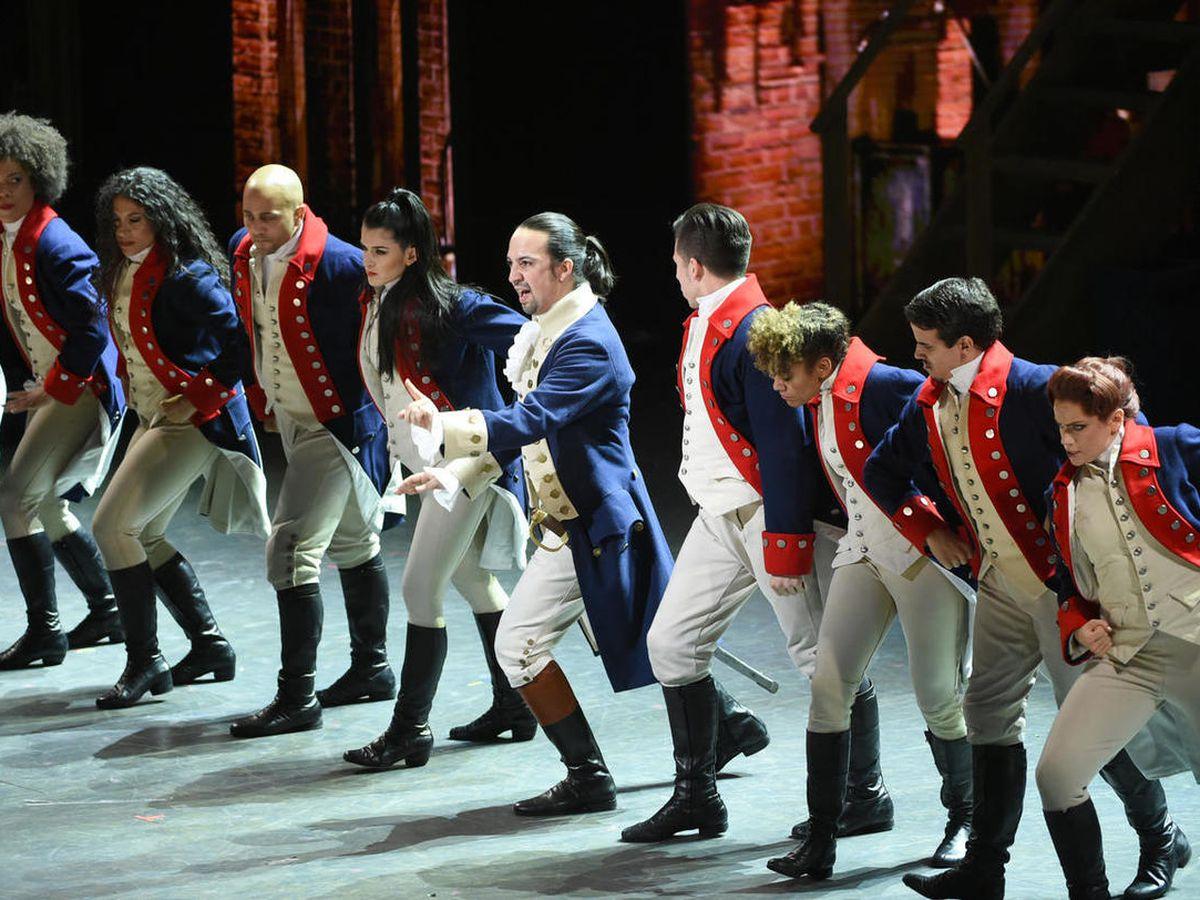 "Lin-Manuel Miranda, center, and the cast of ""Hamilton"" perform at the Tony Awards at the Beacon Theatre on Sunday, June 12, 2016, in New York."