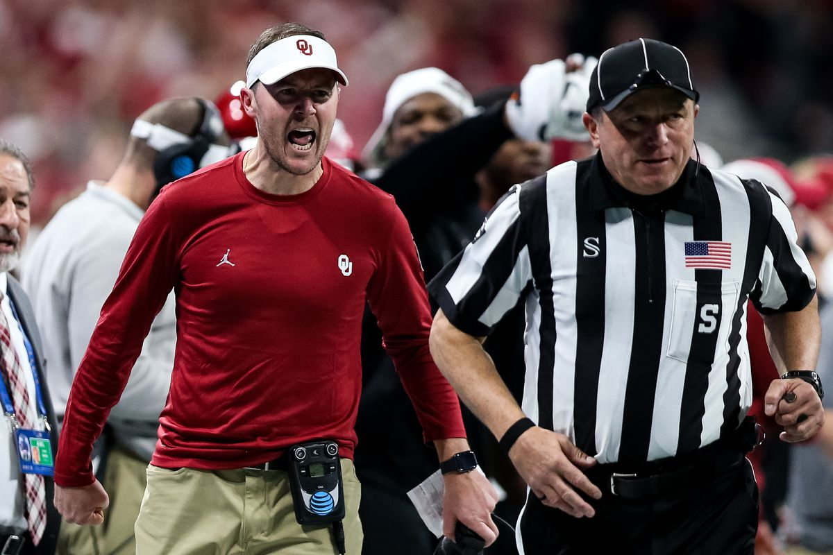 Head coach Lincoln Riley of the Oklahoma Sooners reacts to a call during the Chick-fil-A Peach Bowl against the LSU Tigers at Mercedes-Benz Stadium on December 28, 2019 in Atlanta, Georgia.