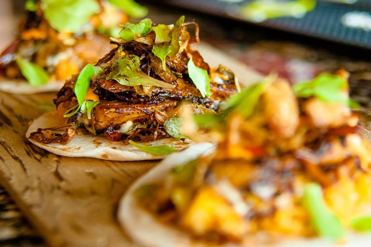 soft tacos loaded with meat, lime and guacamole