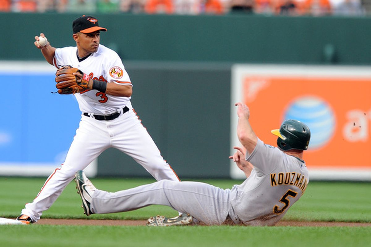 BALTIMORE - MAY 26:  Kevin Kouzmanoff #5 of the Oakland Athletics is forced out at second base by Cesar Izturis #3 of the Baltimore Orioles at Camdem Yards on May 26, 2010 in Baltimore, Maryland.  (Photo by Greg Fiume/Getty Images)