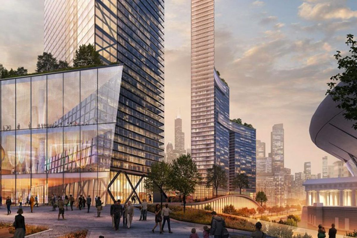 The massive One Central development — seen in an artist's rendering — that's proposed just west of Soldier Field would include several high-rise buildings with offices, residences, retail space and a hotel.