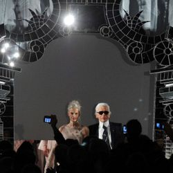 Karl Lagerfeld walks the runway during the Chanel show as part of the Paris Haute Couture Fashion Week Spring/Summer 2011 at Pavillon Cambon Capucines on January 25, 2011 in Paris, France.