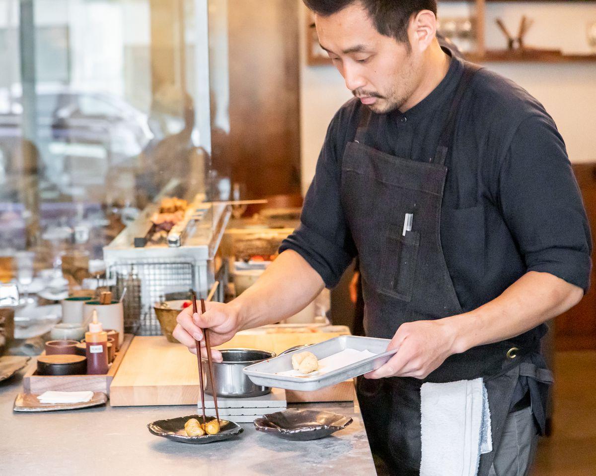Plating dishes at Hina Yakitori