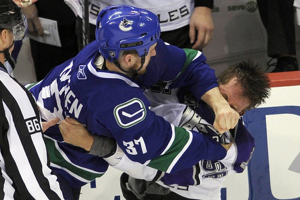 The fans may love him, but his place on the Canucks roster might be threatened....  (Photo by Rich Lam/Getty Images)