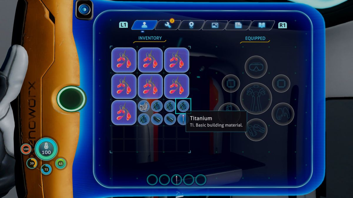 The inventory UI in Subnautica: Below Zero, showing items of a wide variety of sizes.