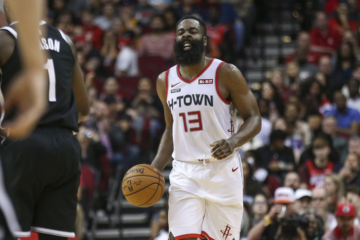 Houston Rockets guard James Harden dribbles the ball during the fourth quarter against the Brooklyn Nets at Toyota Center.