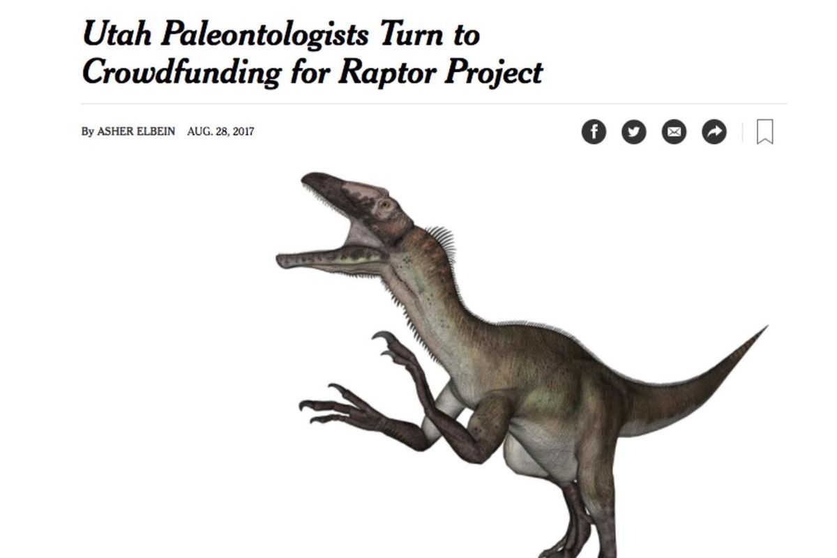 The New York Times wants everyone to know about a Utah crowdfunding project to learn a little bit more about raptors.