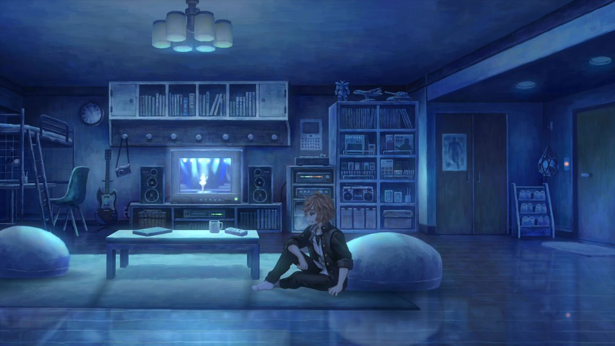 a teenage boy sits on a rug in a living room lit only by the light of a CRT television in 13 Sentinels: Aegis Rim