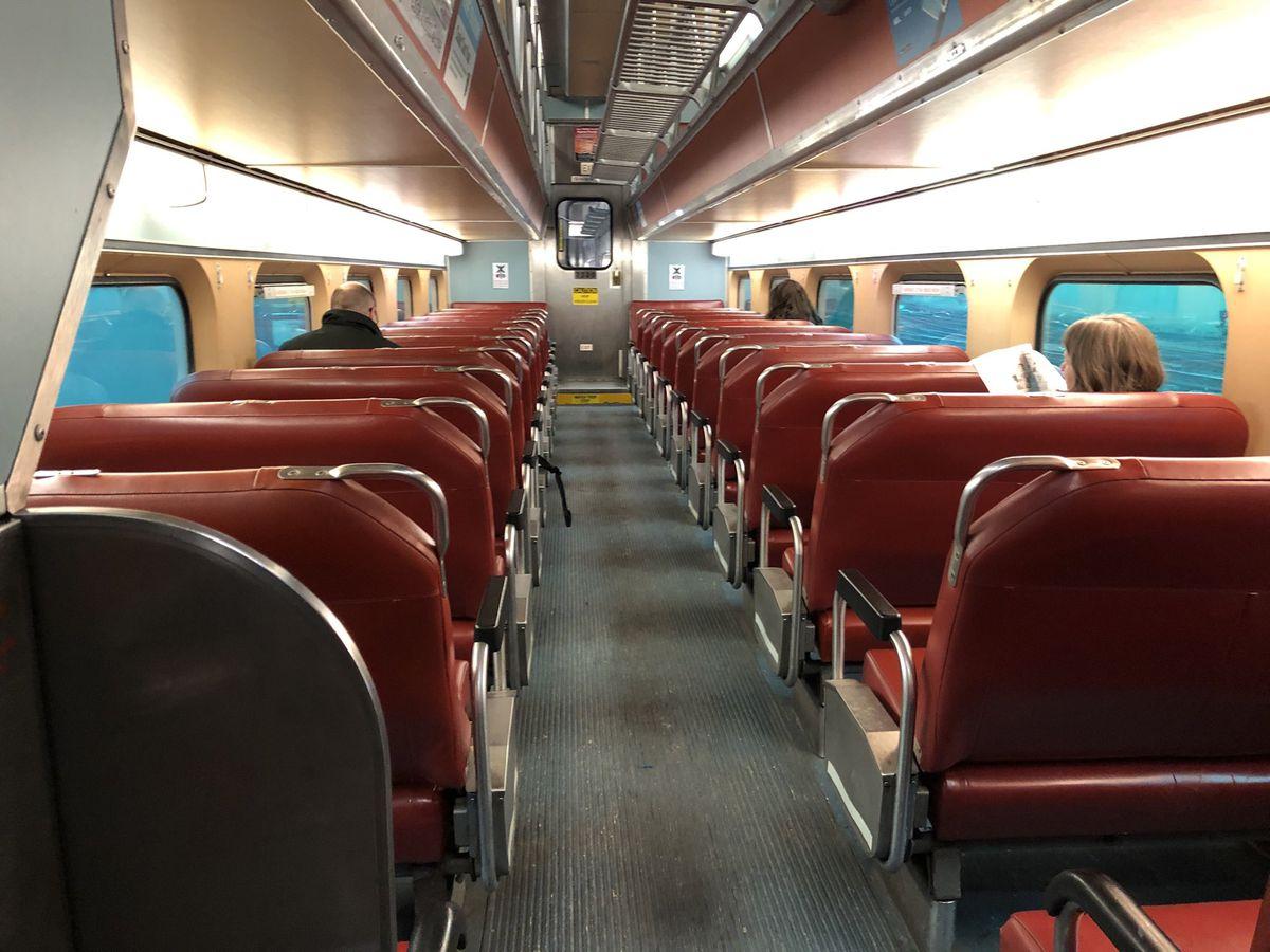 Interior of an older Metra coach.