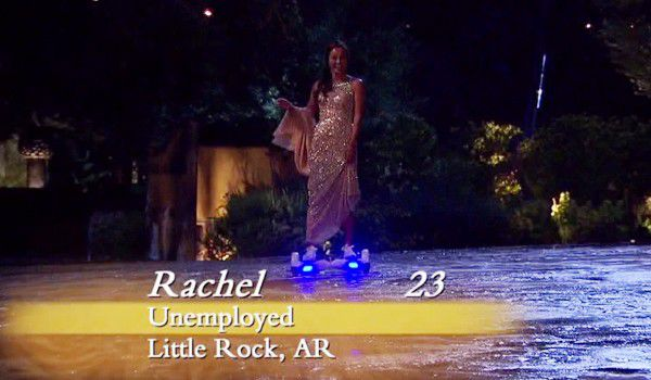 Bachelor contestant Rachel makes her grand entrance to season 20 on a hoverboard.