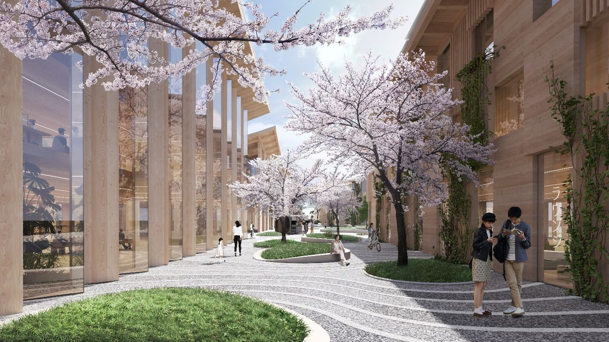 Rendering of people walking down pedestrian path with cherry blossom trees.