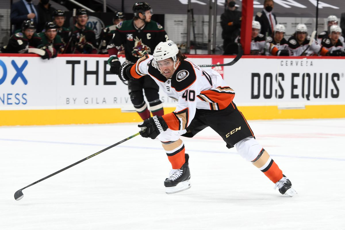 Vinni Lettieri #40 of the Anaheim Ducks skates up ice against the Arizona Coyotes at Gila River Arena on February 24, 2021 in Glendale, Arizona.