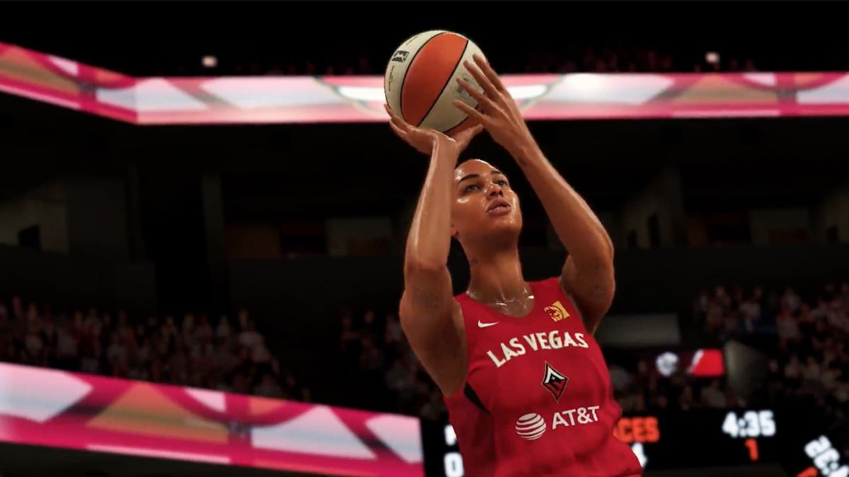 One of the Las Vegas Aces hoists a shot in NBA 2K20