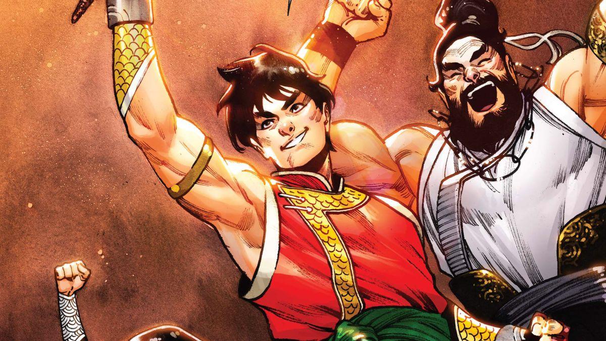 Shang-Chi raises a torch triumphantly alongside his cheering siblings in Shang-Chi #5 (2020).