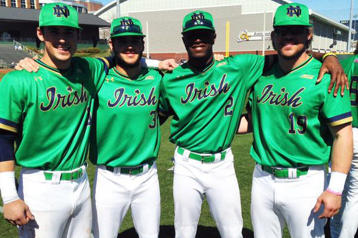 From @NDBaseball on Twitter: the Irish in green on Sunday. ND went 1-2 in their weekend series vs. Georgia Tech.