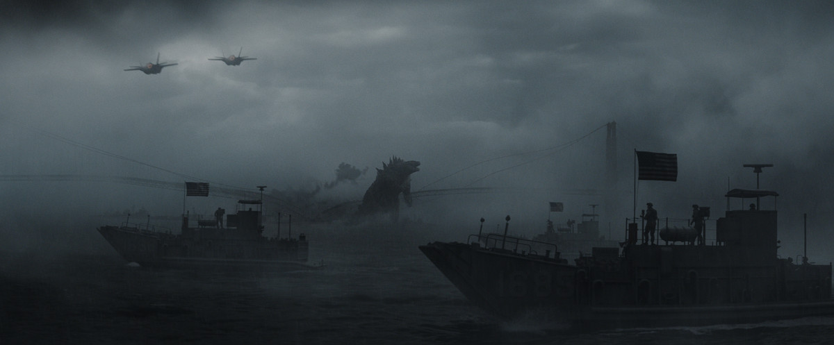 Godzilla roars in the middle of the sea while surrounded by warships