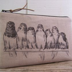 """<b>Inge Downing</b> Birds in a Row Linen Cosmetic Bag on <b>Etsy</b>, <a href=""""http://www.etsy.com/listing/151262982/birds-in-a-row-linen-bag-small-pencil"""">$12.50</a>"""