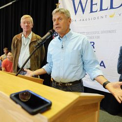 Libertarian presidential candidate Gov. Gary Johnson talks to supporters at the Student Union at the University of Utah in Salt Lake City as he and running mate Gov. Bill Weld pay a visit on Saturday, Aug. 6, 2016.