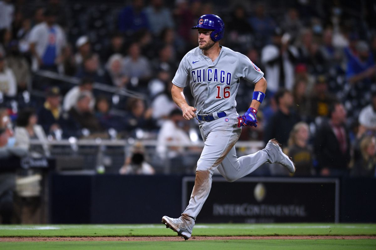 Chicago Cubs third baseman Patrick Wisdom (16) advances home to score a run on a sacrifice fly hit by shortstop Sergio Alcantara (not pictured) during the fourth inning against the San Diego Padres at Petco Park.