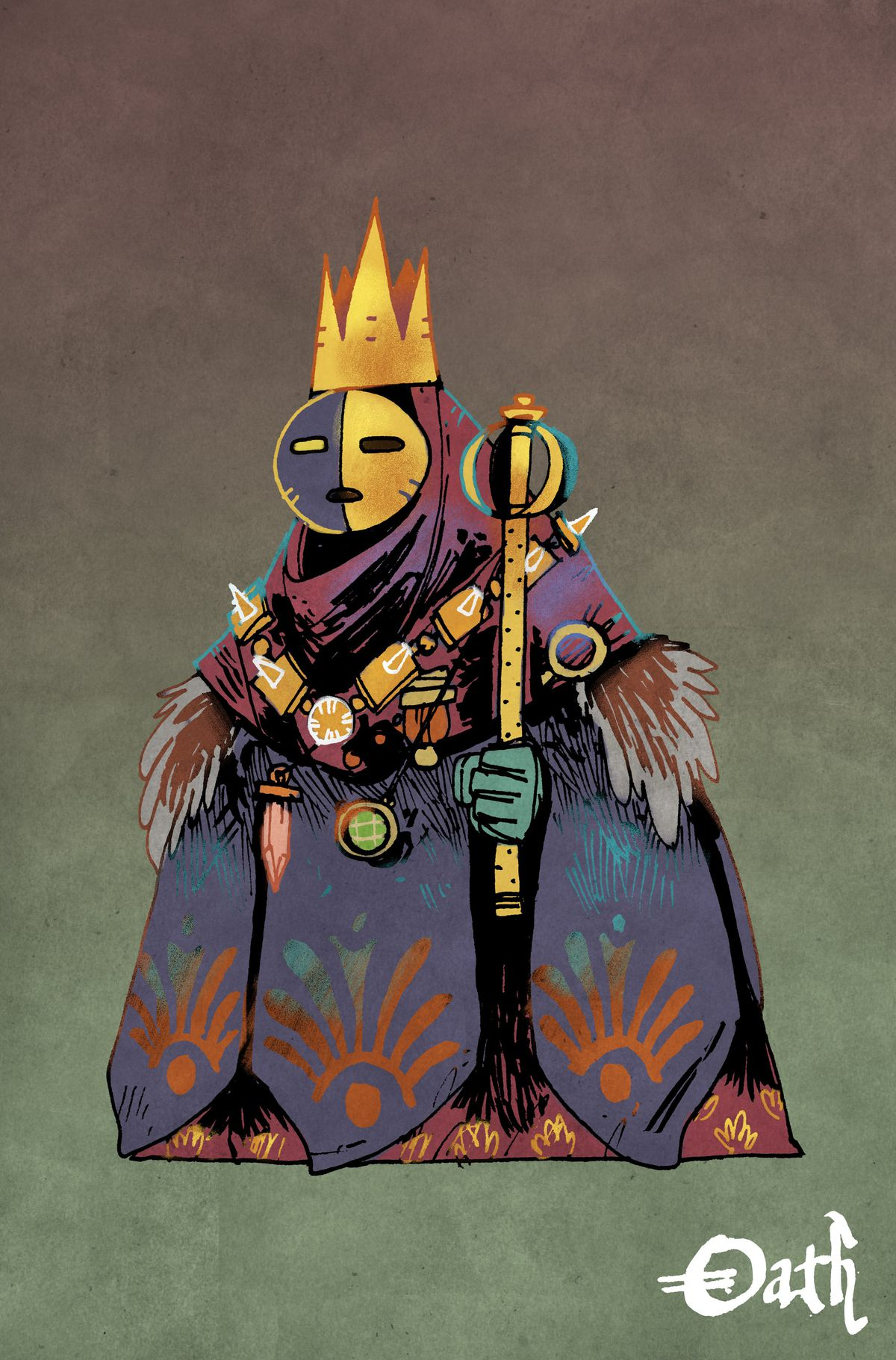 A masked humanoid holding a scepter, clothed in massive heists that otherwise hid his true form.