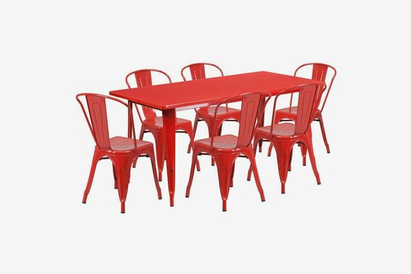 A red metal table and six-chair set
