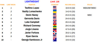 135 110220 - Bad Left Hook Boxing Rankings (Nov. 2, 2020): Davis joins Canelo as only fighters ranked in two divisions