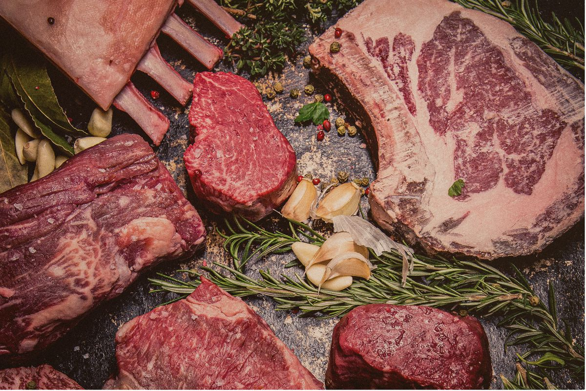 Different cuts of beef shot from overhead