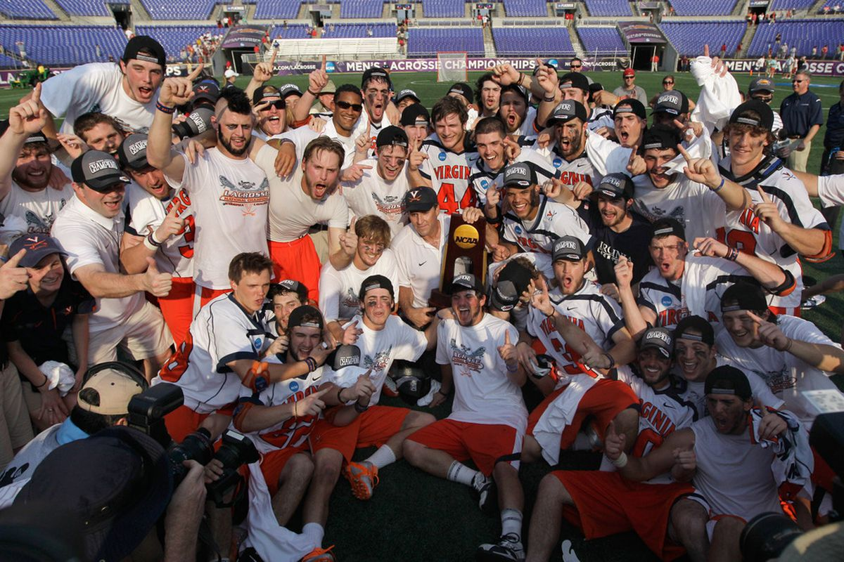 BALTIMORE, MD - MAY 30: Members of the Virginia Cavaliers hold up the trophy after defeating the Maryland Terrapins 9-7 at M&T Bank Stadium on May 30, 2011 in Baltimore, Maryland.  (Photo by Rob Carr/Getty Images)