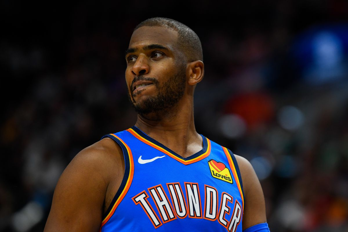 Chris Paul of the Oklahoma City Thunder in action during a game against the Utah Jazz at Vivint Smart Home Arena on December 9, 2019 in Salt Lake City, Utah.
