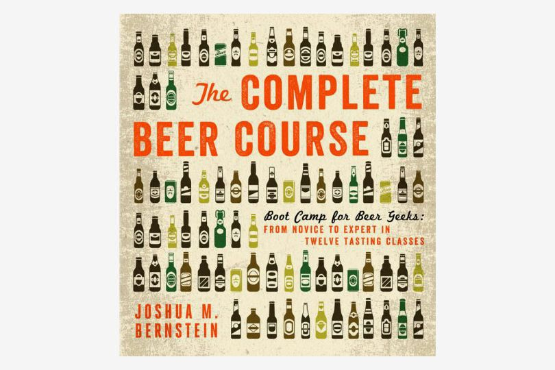 "The cover of ""The Complete Beer Course"" with assorted beer can and bottle graphics on a tan background"