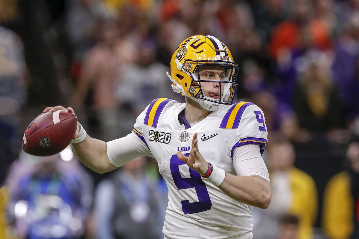 Quarterback Joe Burrow of the LSU Tigers on a pass play during the College Football Playoff National Championship game against the Clemson Tigers at the Mercedes-Benz Superdome on January 13, 2020 in New Orleans, Louisiana. LSU defeated Clemson 42 to 25.