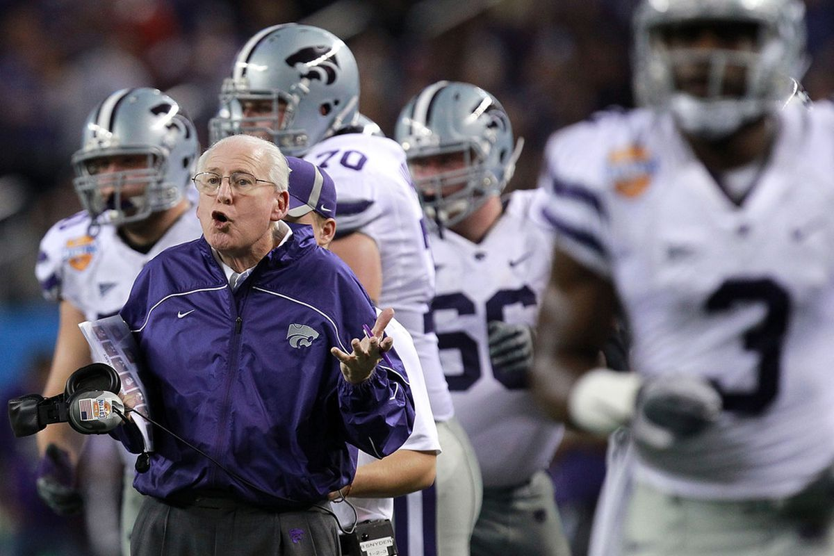 ARLINGTON, TX - JANUARY 06:  Head coach Bill Snyder of the Kansas State Wildcats on the sidelines during the Cotton Bowl at Cowboys Stadium on January 6, 2012 in Arlington, Texas.  (Photo by Ronald Martinez/Getty Images)