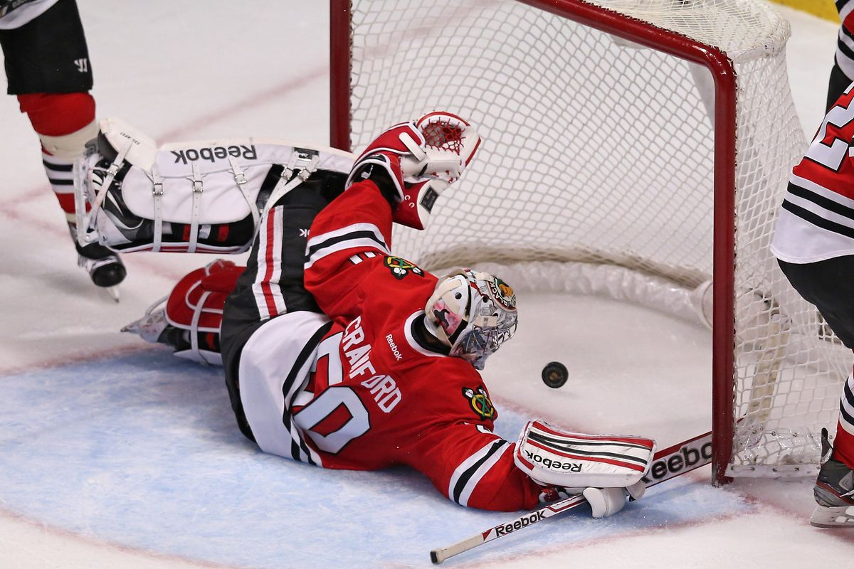 This is the one photo of the Wild making the Blackhawks look incompetent tonight. This happened far too few times.