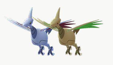 Shiny Skarmory and regular Skarmory in Pokémon Go