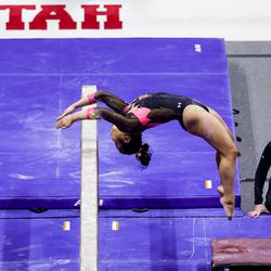 Utah's Cristal Isa competes on the beam during a meet against Arizona at the Huntsman Center in Salt Lake City on Saturday, Jan. 23, 2021.
