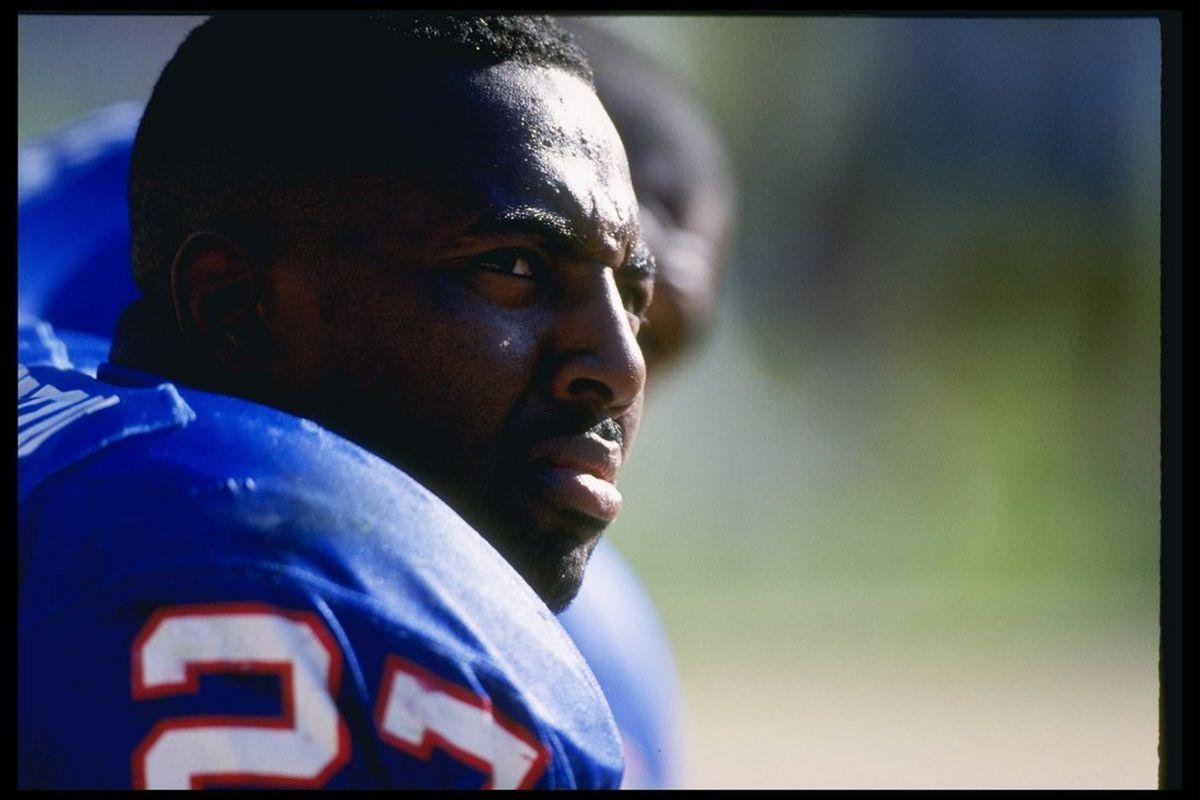 Rodney Hampton as a member of the New York Giants in 1994. (Photo by Al Bello/Allsport)