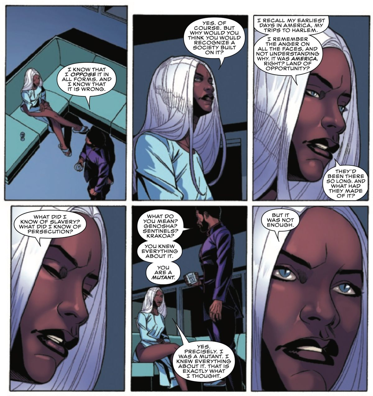 Storm and Black Panther discuss their own naivete in recognizing that a society was built on slavery — even despite their skin color and mutant status, in Black Panther #18, Marvel Comics (2019).