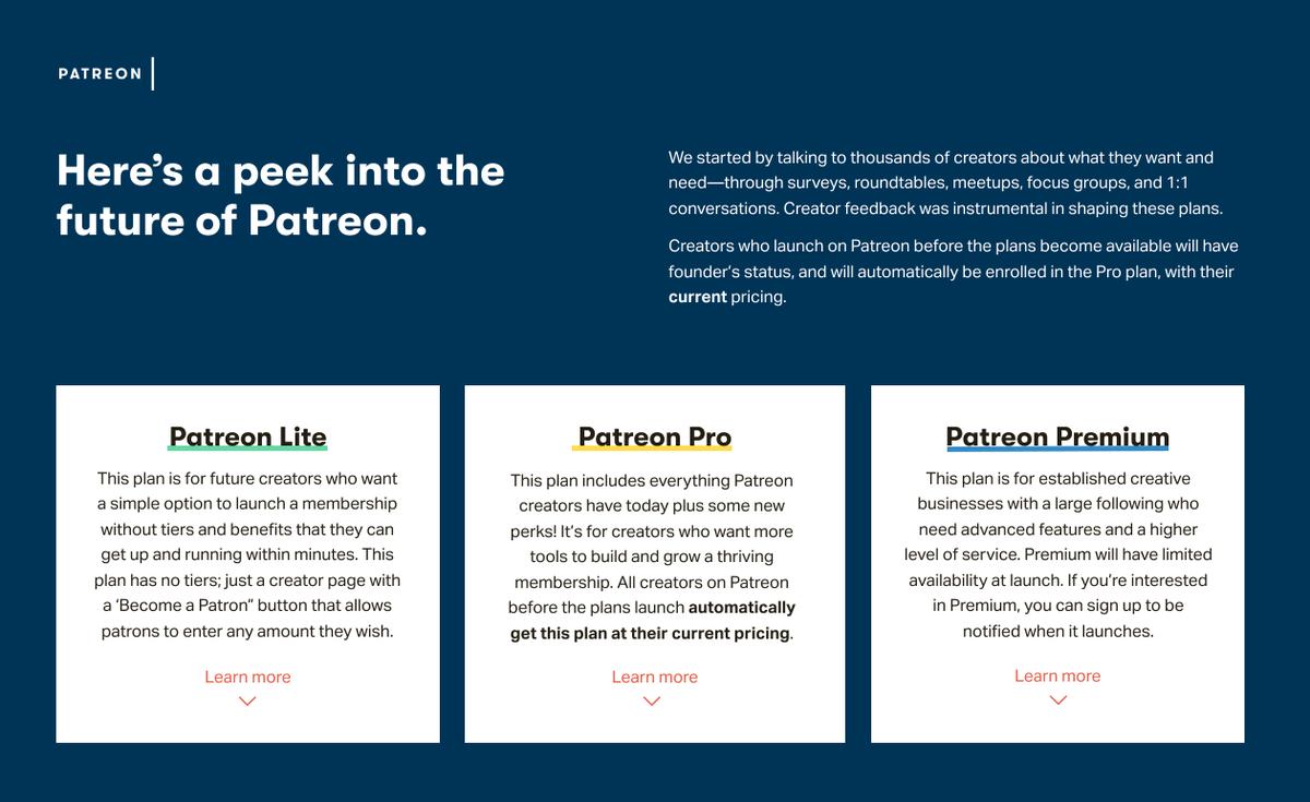 Patreon Pricing Tier Information