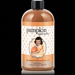 """<a href=""""http://www.philosophy.com/whatsnew-facebookfavorites/facebook-favorite-pumpkin-spice-muffin-body-wash-product"""" rel=""""nofollow"""">Philosophy Pumpkin Spice Muffin Shampoo Shower Gel and Bubble Bath</a>: $16 for 16 oz"""