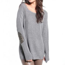 Akira - Sequin Patch Sweater in Grey ($56.90)