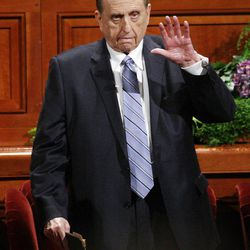President Thomas S. Monson waves to attendees prior to  the 182nd Annual General Conference for The Church of Jesus Christ of Latter-day Saints in Salt Lake City  Sunday, April 1, 2012.