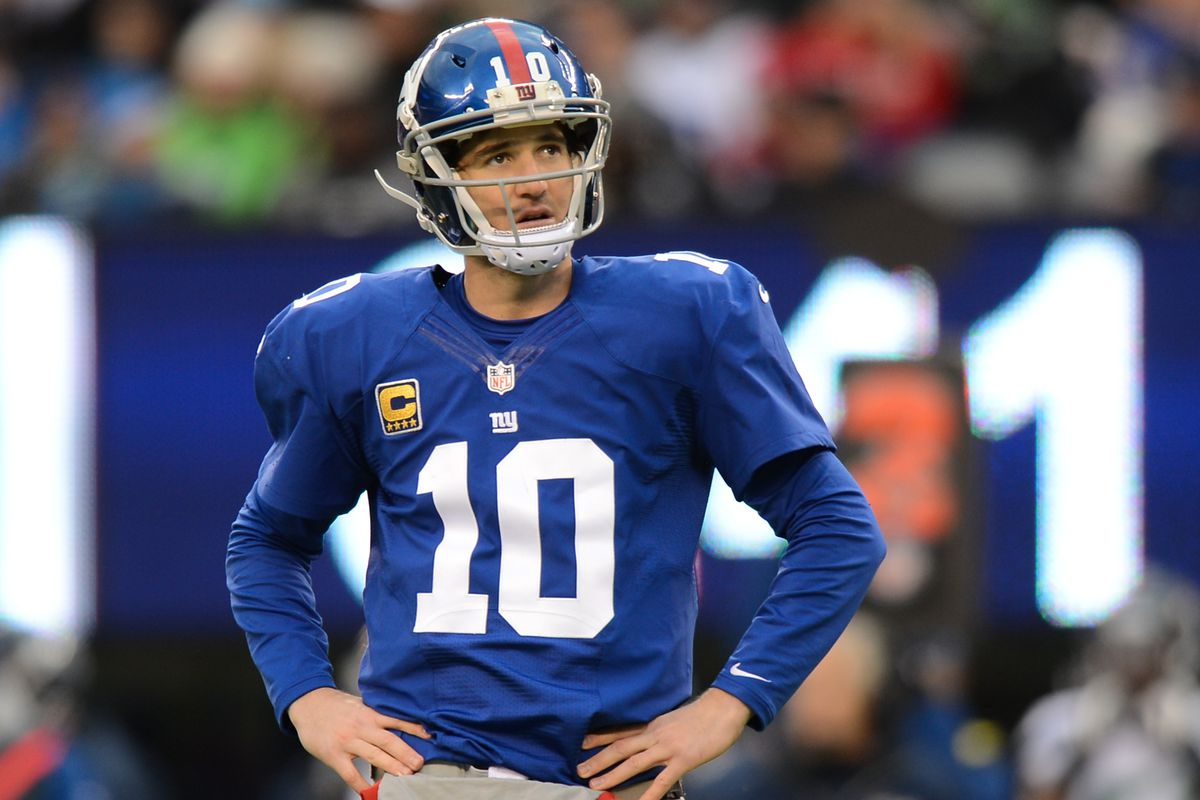 Giants fans hope Eli Manning can cut down on his interceptions this Sunday against the Lions.