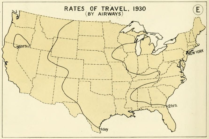 Map of airline travel times in 1930. (Hathi Trust)