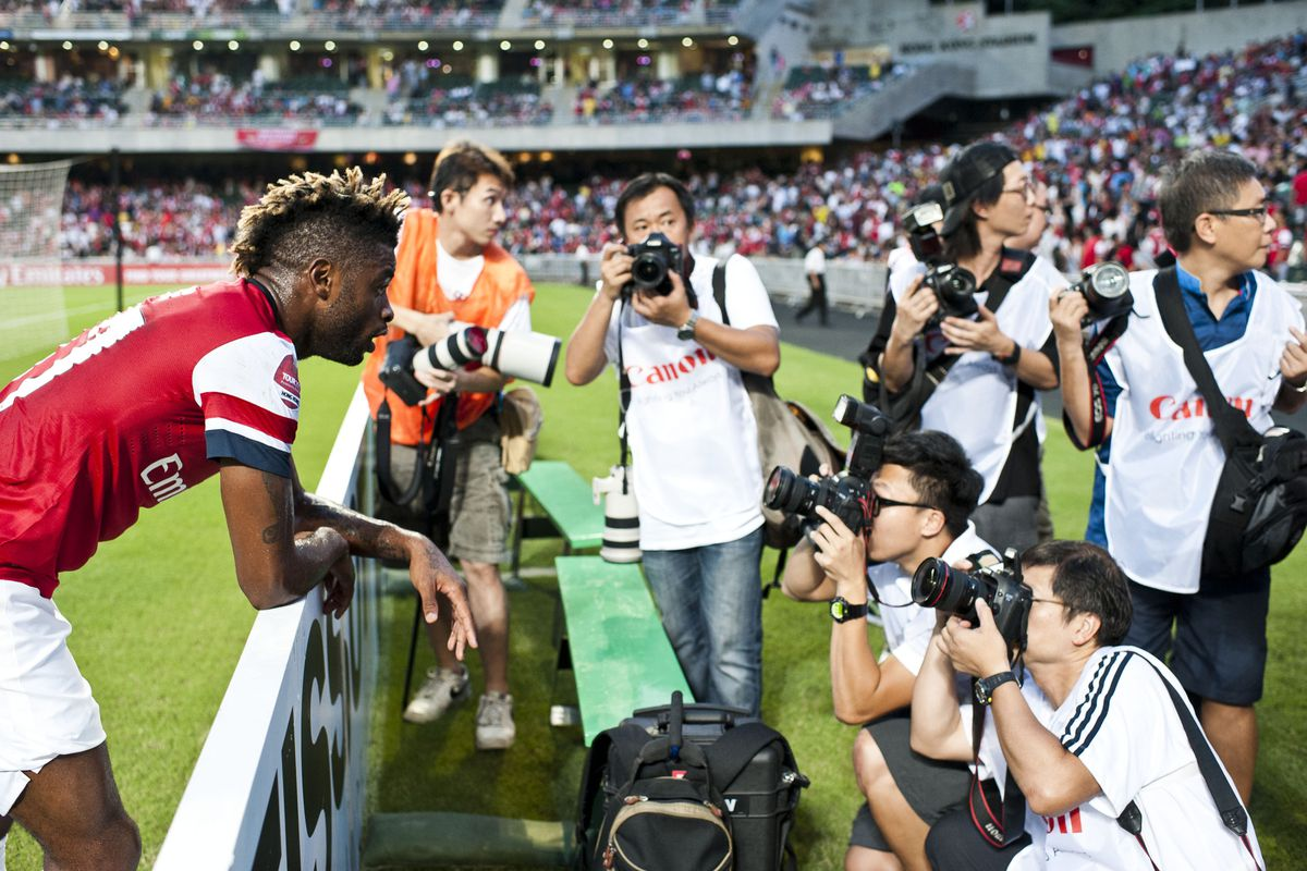 SO KON PO, HONG KONG - JULY 29:  Alex Song of Arsenal FC poses for media during the pre-season Asian Tour friendly match between Kitchee FC and Arsenal at Hong Kong Stadium on July 29, 2012 in Hong Kong.  (Photo by Victor Fraile/Getty Images)