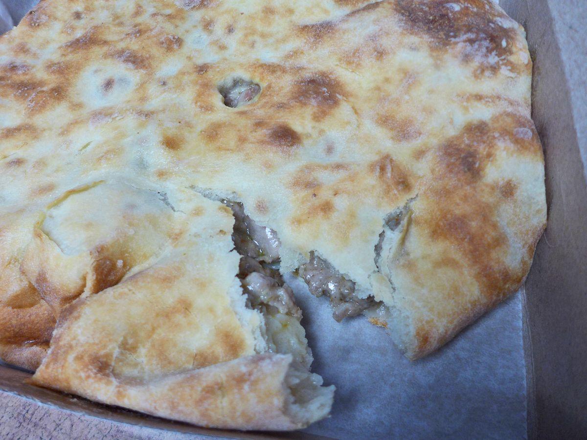 Lamb stuffed flatbread.
