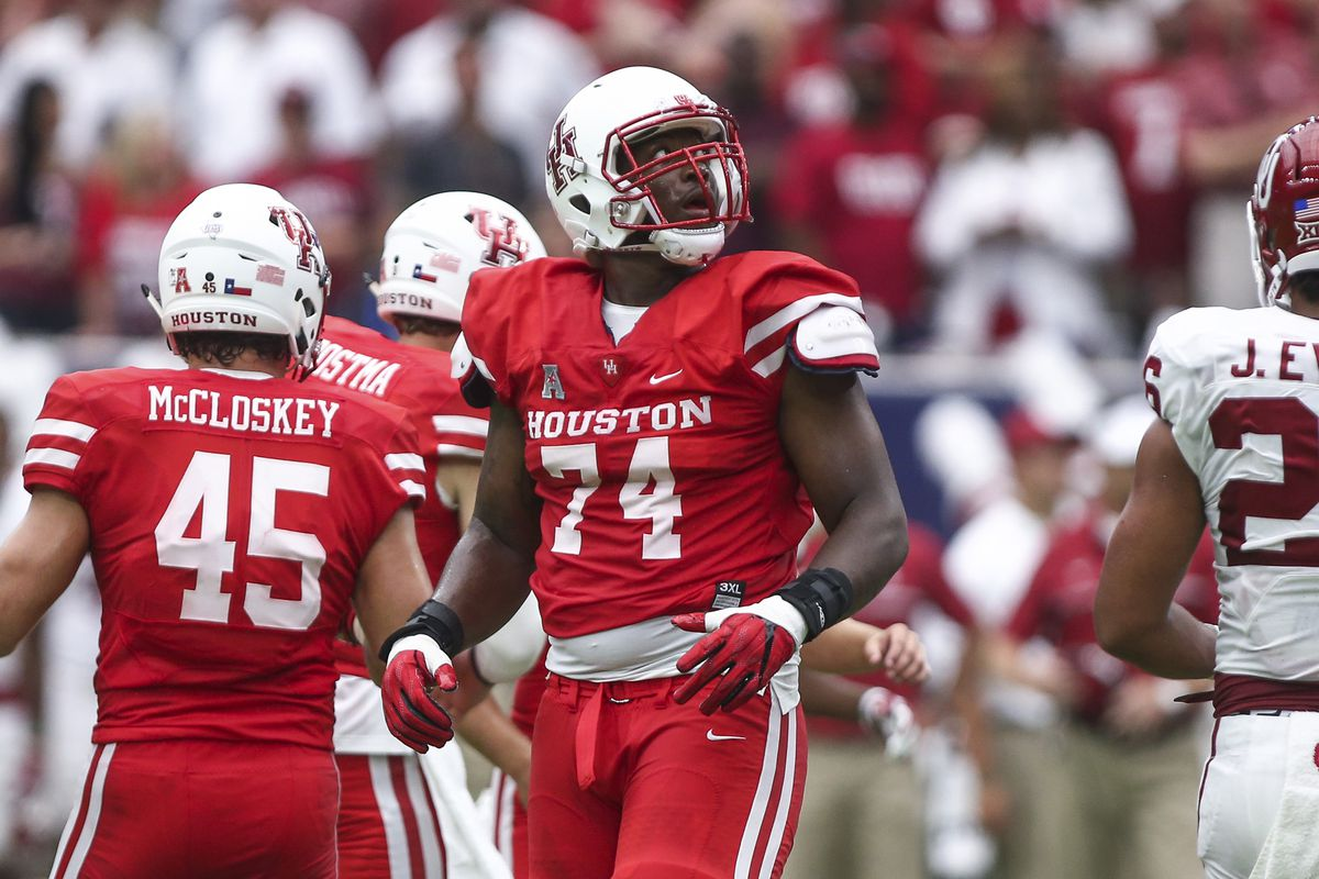 Houston Cougars offensive lineman Josh Jones during the game against the Oklahoma Sooners at NRG Stadium.