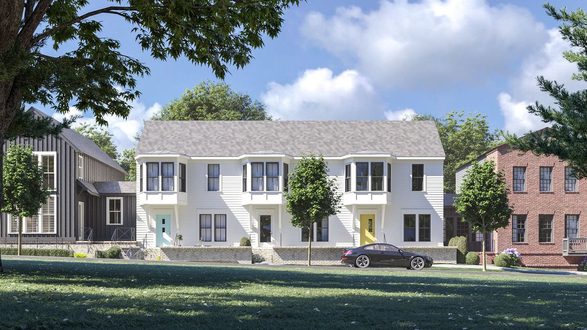 a rendering of black white and red homes in  crow.